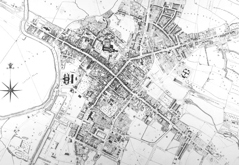 Central area of Gloucester on Caustons 1843 map Gloucester Civic